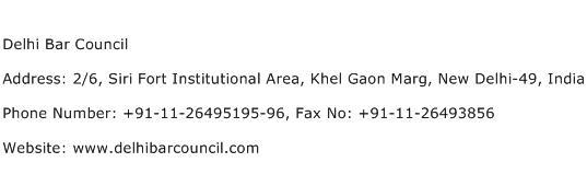 Delhi Bar Council Address Contact Number