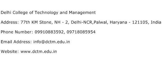 Delhi College of Technology and Management Address Contact Number