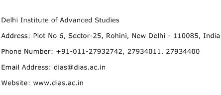 Delhi Institute of Advanced Studies Address Contact Number
