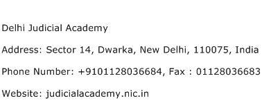 Delhi Judicial Academy Address Contact Number
