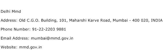 Delhi Mmd Address Contact Number