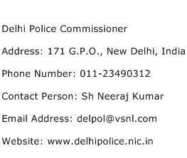 Delhi Police Commissioner Address Contact Number