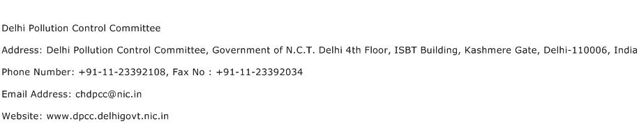Delhi Pollution Control Committee Address Contact Number