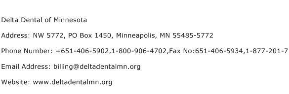 Delta Dental of Minnesota Address Contact Number