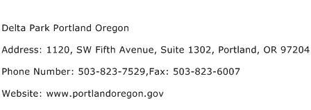 Delta Park Portland Oregon Address Contact Number