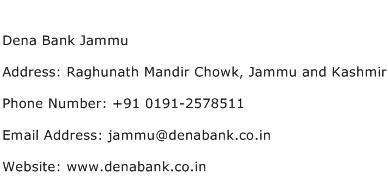 Dena Bank Jammu Address Contact Number