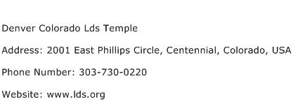 Denver Colorado Lds Temple Address Contact Number