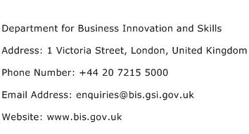 Department for Business Innovation and Skills Address Contact Number