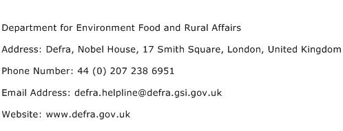 Department for Environment Food and Rural Affairs Address Contact Number