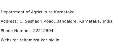 Department of Agriculture Karnataka Address Contact Number