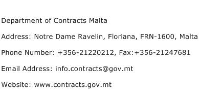 Department of Contracts Malta Address Contact Number