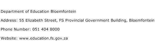 Department of Education Bloemfontein Address Contact Number