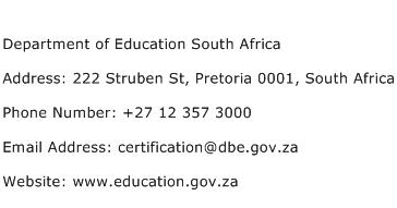 Department of Education South Africa Address Contact Number