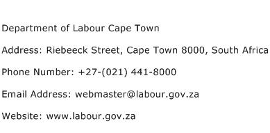 Department of Labour Cape Town Address Contact Number