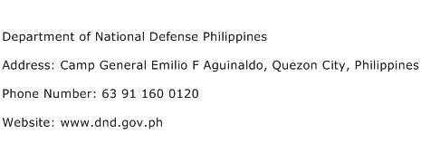 Department of National Defense Philippines Address Contact Number