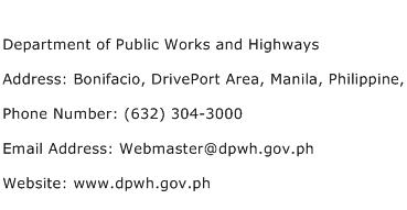 Department of Public Works and Highways Address Contact Number