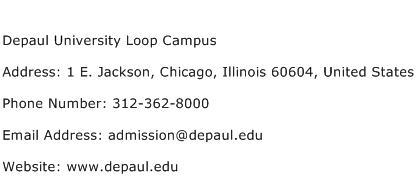 Depaul University Loop Campus Address Contact Number