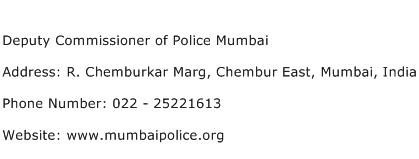 Deputy Commissioner of Police Mumbai Address Contact Number