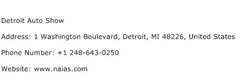Detroit Auto Show Address Contact Number