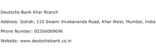 Deutsche Bank Khar Branch Address Contact Number