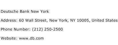 Deutsche Bank New York Address Contact Number