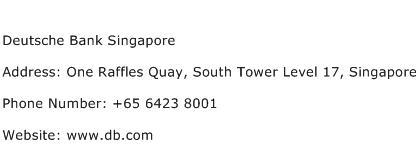 Deutsche Bank Singapore Address Contact Number