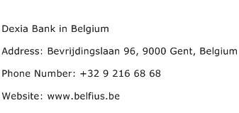 Dexia Bank in Belgium Address Contact Number