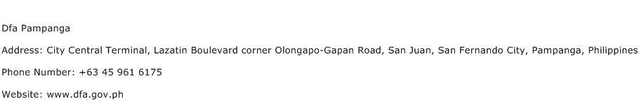 Dfa Pampanga Address Contact Number