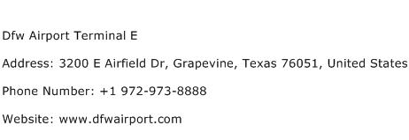 Dfw Airport Terminal E Address Contact Number