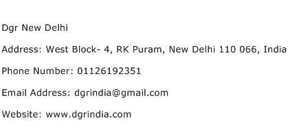Dgr New Delhi Address Contact Number