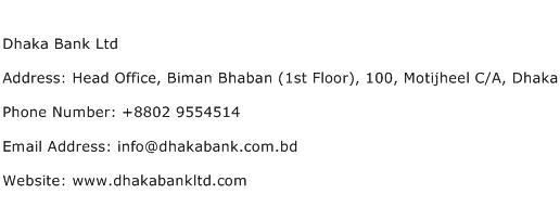 Dhaka Bank Ltd Address Contact Number