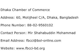 Dhaka Chamber of Commerce Address Contact Number
