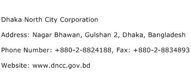 Dhaka North City Corporation Address Contact Number