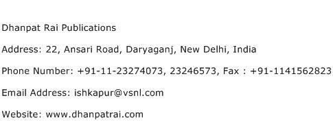 Dhanpat Rai Publications Address Contact Number