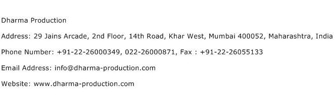 Dharma Production Address Contact Number