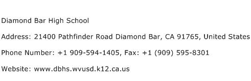 Diamond Bar High School Address Contact Number