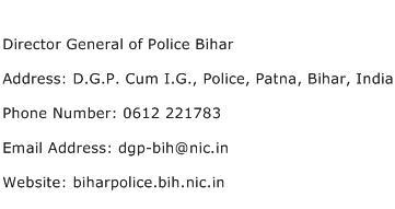 Director General of Police Bihar Address Contact Number