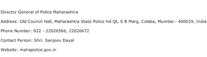 Director General of Police Maharashtra Address Contact Number