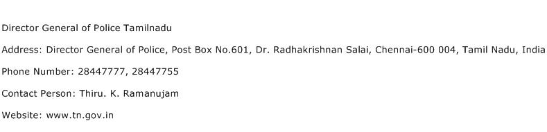 Director General of Police Tamilnadu Address Contact Number
