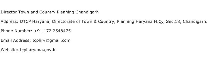Director Town and Country Planning Chandigarh Address Contact Number