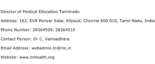 Director of Medical Education Tamilnadu Address Contact Number