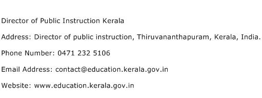 Director of Public Instruction Kerala Address Contact Number