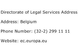 Directorate of Legal Services Address Address Contact Number