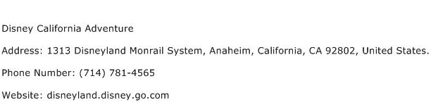 Disney California Adventure Address Contact Number