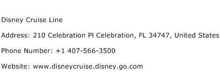 Disney Cruise Line Address Contact Number