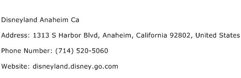 Disneyland Anaheim Ca Address Contact Number