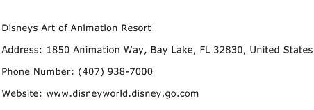 Disneys Art of Animation Resort Address Contact Number