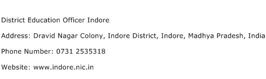 District Education Officer Indore Address Contact Number