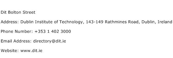 Dit Bolton Street Address Contact Number
