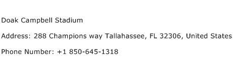 Doak Campbell Stadium Address Contact Number